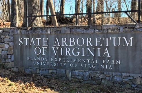 Large stone wall with sign that says State Arboretum of Virgina