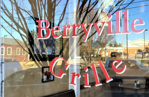 Restaurant window that says Berryville Grille